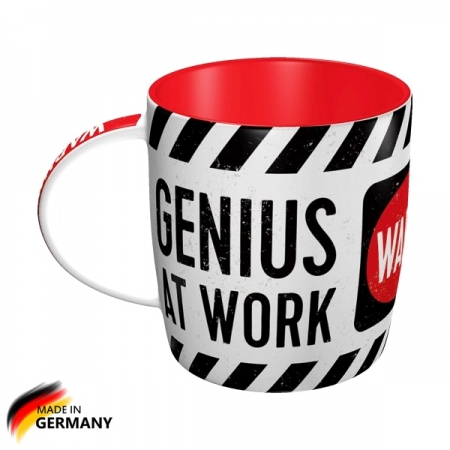 "Kubek 330ml retro Warning! Genius at Work ""Uwaga! Geniusz w pracy"""